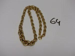 1 collier maille tressée en or (L46cm). PB 15,2g