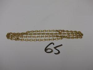 1 chaîne maille grain de café en or (L42cm). PB 10g