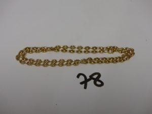 1 chaîne maille grain de café en or (L45cm). PB 10,1g