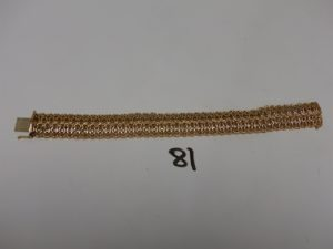 1 bracelet large maille tressée en or (L20cm). PB 25,4g