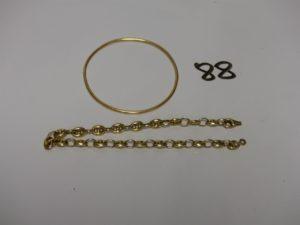 2 bracelets en or (1 jonc diamètre 4,5cm)(1 maille grain de café fermoir à fixer L19cm). PB 9,5g