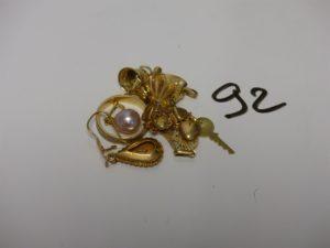 1 Lot casse en or (2 objets avec petite pierre et perle). PB 14,1g