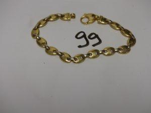 1 bracelet maille grain de café plate en or (L22cm). PB 33,4g