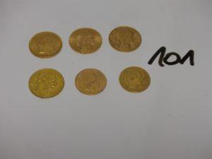 6 pièces d'or : 4 de 20Frs (Autriche/RF1908/RF1909/NAPIIIA1865) et de 10Frs (NAPIII1857/1867). PB 32g