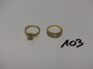 2 bagues en or ornées de pierres (1 bicolore Td55/ Td53). PB 7,7g