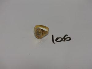1 chevalière en or initiales gravées (td60). PB 3,8g