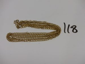 1 chaîne maille plate tressée en or (chaînette de sécurité, fermoir à réparer, L61cm). PB 11g