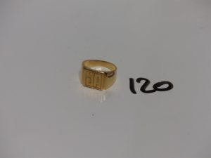 "1 chevalière gravée ""JP"" en or (td54). PB 8,7g"