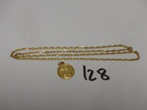 1 chaîne maille marine en or (fermoir cassé,L50cm)et 1 médaille en or à décor d'un ange. PB 7,8g