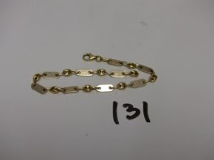 1 bracelet maille grain de café alternée plate (manque anneau de bout,L18cm). PB 5,9g