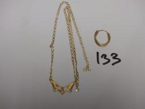 1 collier en or motif central à décor de 2 mains (manque petite pierre et fermoir, L46cm) et 1 créole 3ors cassée. PB 3,9g