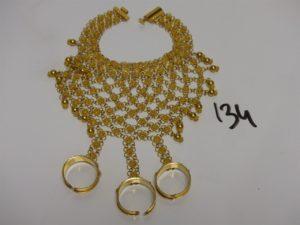 1 bracelet de doigt à 3 bagues en or 22K (L16cm,Td56). PB 67,4g