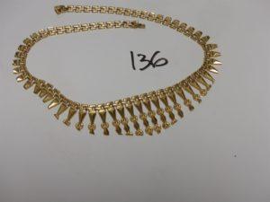 1 collier draperie en or (L41cm). PB 20,9g