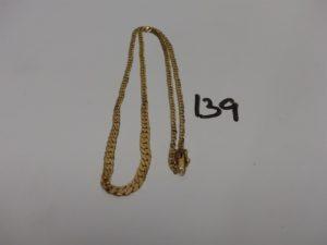 1 collier maille gourmette en or (L43cm). PB 10,7g