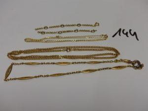 2 chaînes en or : 1 maille gourmette (L58cm) 1 maille forçat (L44cm), 1 giletière en or (L36cm) et 1 bracelet cassé (2 morceaux) en or. PB 34,6g