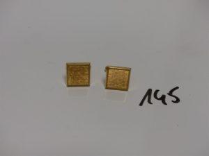 2 boutons de manchette en or. PB 9,1g
