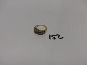 1 bague en or ornée de petites pierres et petits diamants (Td56). PB 4,1g