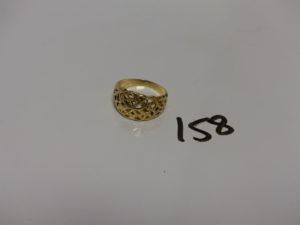 1 bague en or motif central ajouré (Td60). PB 3g
