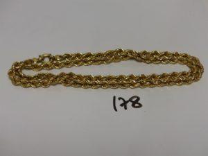 1 chaîne maille corde en or (L71cm). PB 22,4g