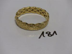 1 bracelet rigide articulé ouvrant en or monture en or (diam 5/6cm). PB 16,3g