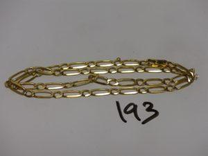 1 chaîne maille alternée en or (L52cm). PB 23g