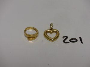 1 bague en or (Td43) et 1 pendentif coeur en or. PB 6,6g