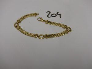 1 bracelet maille anglaise en or (L19cm). PB 13,4g