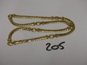 1 collier maille anglaise en or (L49cm). PB 28,2g