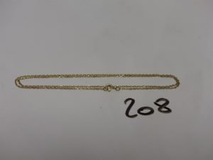 1 chaîne fine maille forçat en or (L48cm). PB 3g