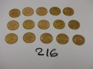 15 pièces de 20Frs en or : 3NAPIII (1855A/1857A/A1863) et 12RF (1875A/1876A/1886A/1893A/1895A/1896A/1897A/1905/1907/2X1910/1911). PB 96,5g