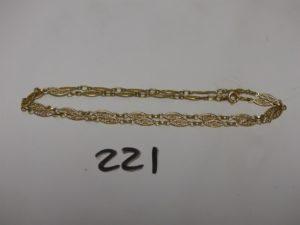 1 chaîne en or à motifs filigranés (L44cm). PB 6,2g