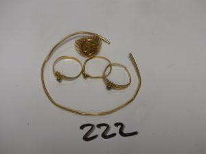1 lot casse or et 3 petites pierres (bagues, bracelet). PB 11,1g