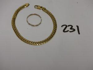 1 bracelet maille anglaise en or (L18cm) et 1 alliance ciselée en or (Td57). PB 9,4g