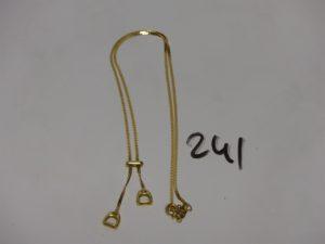 1 collier maille serpent en or motif central en pampille (L46cm). PB 5,8g