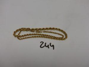 1 collier maille corde en or (L40cm). PB 9,1g