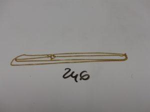 1 chaîne maille gourmette en or (fermoir à réparer, L54cm). PB 3,6g