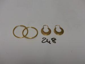 2 paires de créoles en or. PB 4,3g