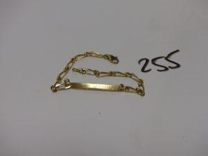 1 bracelet gourmette en or identité gravée (L18cm). PB 5g