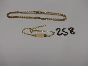 1 chaîne maille alternée en or (L38cm) et 1 bracelet gourmette en or identité gravée (L13cm). PB 6,4g