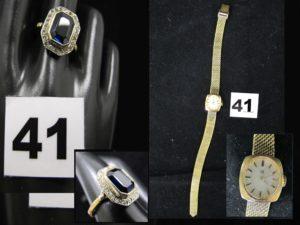 1 Bague en or, ornée d'une pierre rectangulaire bleue dans un entourage de petits diamants taille rose (1 chaton vide TD 59). PB 4,1g et 1 Montre dame LIP en plaqué or (L 22cm). PB 22,4g