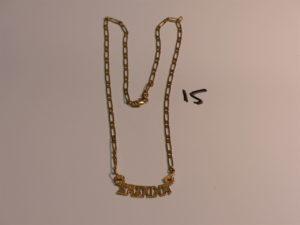 """1 chaîne maille alternée en or avec prénom """"Sabrina"""" (L54cm). PB 13,4g (fermoir cassé)"""
