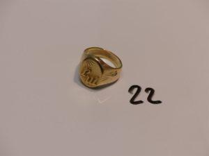 """1 chevalière en or initiales """"JM"""" gravées (Td63). PB 22,8g"""