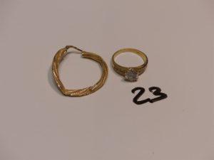 1 bague en or ornée de petites pierres (Td53) et 1 créole cassée en or . PB 4,9g