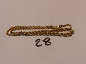 1 collier en or maille corde (cassé).PB 6,3g
