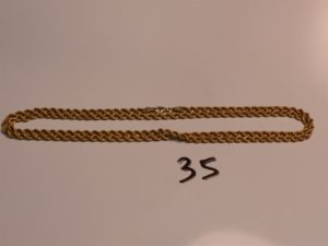 1 chaîne maille corde en or (L69cm). PB 9g