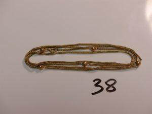 1 giletière maille serpent en or (un peu abîmée,L87cm). PB 10,9g