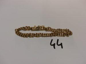 1 bracelet maille américaine en or (usé,L19cm). PB 7,7g