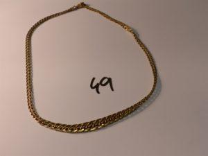 1 collier maille festonnée en or (L43cm). PB 9,7g