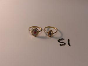1 bague bicolore en or ornée d'une pierre rose et de petits diamants (Td53) et 1 bague en or ornée d'une pierre rouge (Td54). PB 3g