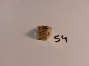 """1 chevalière en or gravée """"SC"""" (Td64). PB 10,4g"""